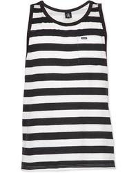 Camiseta sin mangas de rayas horizontales en blanco y negro