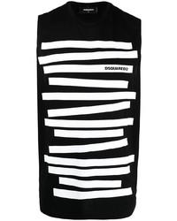 Camiseta sin mangas de rayas horizontales en negro y blanco de DSQUARED2