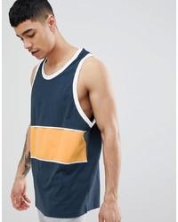 Camiseta sin mangas estampada azul marino de ASOS DESIGN
