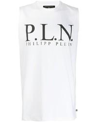 Camiseta sin mangas estampada en blanco y negro de Philipp Plein