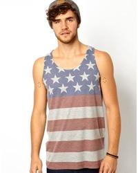 Camiseta sin mangas estampada en blanco y rojo y azul marino