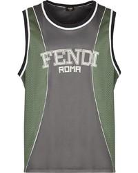 Camiseta sin mangas estampada en gris oscuro de Fendi