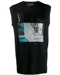 Camiseta sin mangas estampada negra de Philipp Plein
