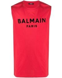 Camiseta sin mangas estampada roja de Balmain