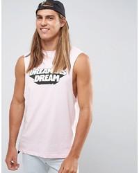 Camiseta sin mangas estampada rosada de Asos