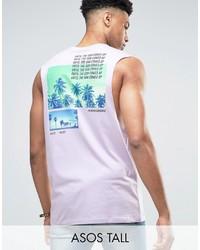 Camiseta sin mangas estampada violeta claro de Asos