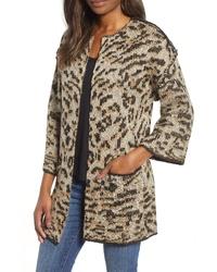 Cárdigan abierto de leopardo marrón claro