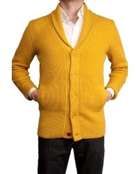 Cárdigan con cuello chal amarillo