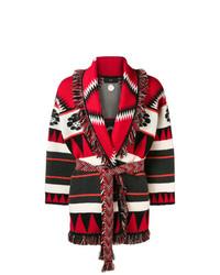 Cárdigan con cuello chal de grecas alpinos rojo de Alanui