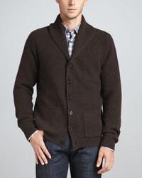 Cárdigan con cuello chal en marrón oscuro