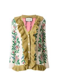 Cárdigan con print de flores en beige de Gucci