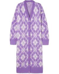 Cárdigan largo violeta claro de Miu Miu