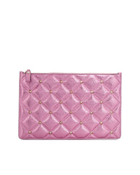 Cartera sobre de cuero acolchada rosa de Valentino