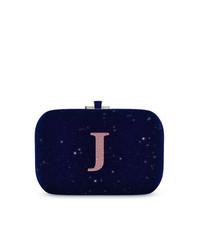 Cartera sobre de cuero azul marino de Judith Leiber Couture