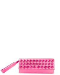 Cartera sobre de cuero con adornos rosa de Alberta Ferretti