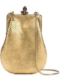 Cartera sobre de cuero con print de serpiente dorada de Saint Laurent