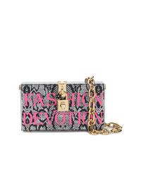 Cartera sobre de cuero con print de serpiente plateada de Dolce & Gabbana