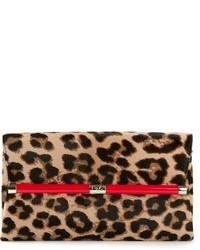 Cartera Sobre de Cuero de Leopardo Marrón de Diane von Furstenberg