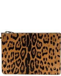 Cartera sobre de cuero de leopardo marrón de Jerome Dreyfuss