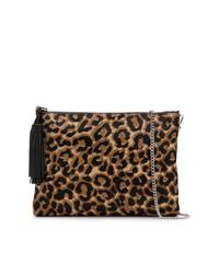 Cartera Sobre de Cuero de Leopardo Marrón de Loeffler Randall