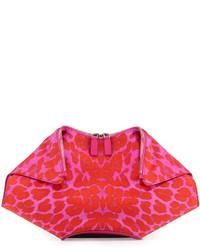 Cartera sobre de cuero de leopardo roja
