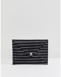 Cartera sobre de cuero de rayas horizontales en negro y blanco de Pull&Bear