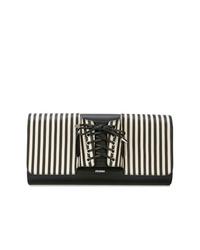 Cartera sobre de cuero de rayas verticales en blanco y negro de Perrin Paris