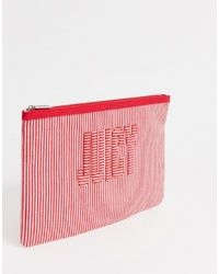 Cartera sobre de cuero de rayas verticales roja de Juicy Couture