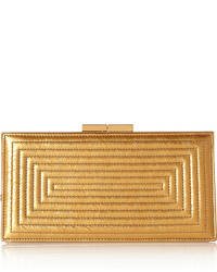 Cartera sobre de cuero dorada de Saint Laurent