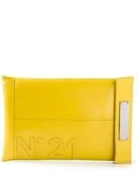 Cartera sobre de cuero estampada amarilla de No.21