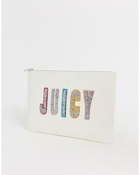 Cartera sobre de cuero estampada blanca de Juicy Couture