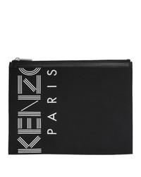 Cartera sobre de cuero estampada en negro y blanco de Kenzo