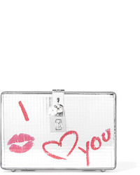 Cartera sobre de cuero estampada plateada de Dolce & Gabbana