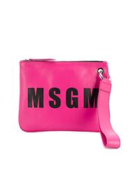 Cartera sobre de cuero estampada rosa de MSGM