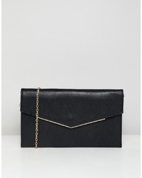 Cartera sobre de cuero negra de New Look