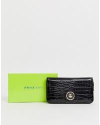 Cartera sobre de cuero negra de Versace Jeans