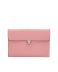 Cartera sobre de cuero rosada de Alexander McQueen