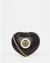 Cartera sobre de lentejuelas con adornos negra de Love Moschino
