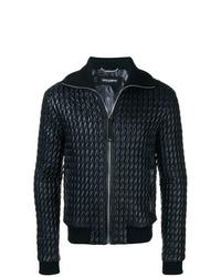 Cazadora de aviador de cuero acolchada azul marino de Dolce & Gabbana