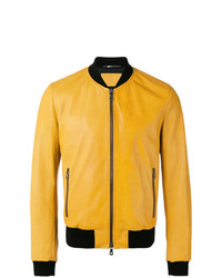 Cazadora de aviador de cuero amarilla de Dolce & Gabbana