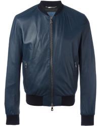 Cazadora de aviador de cuero azul marino de Dolce & Gabbana