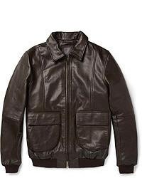 Cazadora de aviador de cuero en marrón oscuro