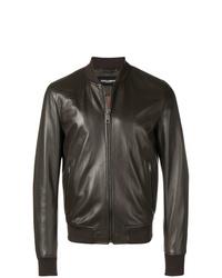 Cazadora de aviador de cuero en marrón oscuro de Dolce & Gabbana