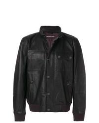 Cazadora de aviador de cuero en marrón oscuro de Michael Kors Collection