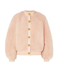 Cazadora de aviador de forro polar rosada