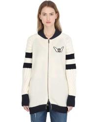 Cazadora de aviador de lana blanca