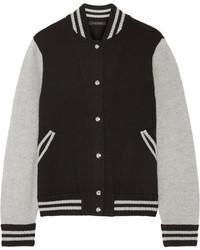 Cazadora de aviador de lana de rayas horizontales negra de Marc Jacobs