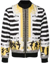 Cazadora de aviador de lana de rayas horizontales negra de Versace