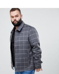 Cazadora de aviador de lana de tartán en gris oscuro de ASOS DESIGN
