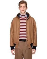 Cazadora de aviador de lana marrón claro
